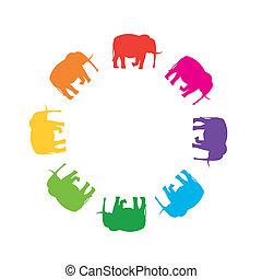 rotondo, cornice, da, silhouette, di, elefanti, in, colori...