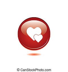 rotondo, cuore, lucido, button., vettore, rosso