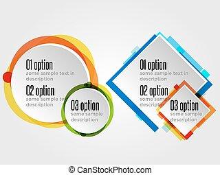 rotondo, disegno, cornici, per, opzioni, bandiere, o, infographics