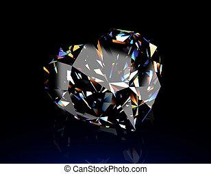 rotondo, forma, brillante, diamond., gioielleria, fondo