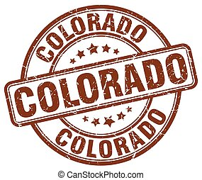 rotondo, francobollo, vendemmia, colorado, grunge, marrone, gomma