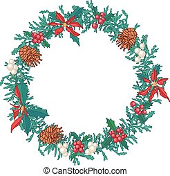 rotondo, ghirlanda natale, con, coni abete, e, scatole regalo, isolato, su, white., per, festivo, disegno, annunci, cartoline, posters.
