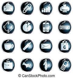 rotondo, nero, alto, lucentezza, ufficio, bottoni