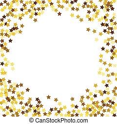 rotondo, oro, brillare, frame.
