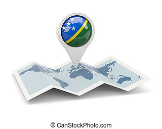 rotondo, perno, con, bandiera, di, isole solomon