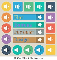 rotondo, set, colorato, appartamento, no, venti, segno., rettangolare, volume, vettore, quadrato, icona, buttons.