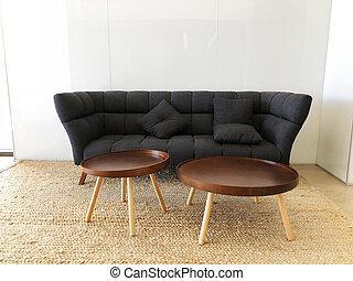 rotondo, stanza, nero, vivente, panorama, divano, tables.