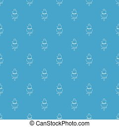 rotondo, tavolino da caffè, con, un, anticaglia, vaso, modello, vettore, seamless, blu