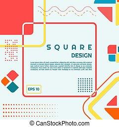 rotondo, tuo, forma quadrata, moderno, disegno, memphis, colorito, halftone, testo, spazio, stile
