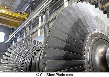 rotor, de, un, vapor, turbina