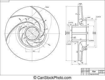Rotor - Machine-building drawing. Rotor. Vector illustration
