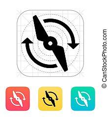 rotor, girar, icon.