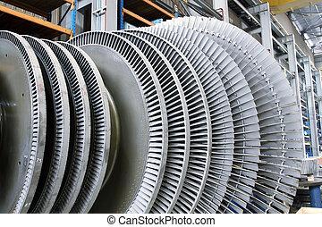 Internal rotor of a steam Turbine in a workshop