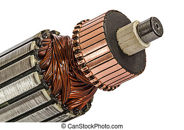 Rotor of electric motor close-up, isolated on white...