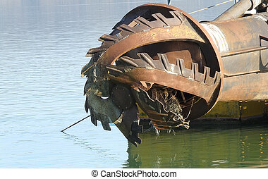 rotor with blade of a big dredge in a channel
