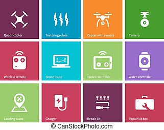 Rotorcraft drone icons on color background.