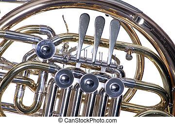 rotorer, hvid, isoleret, fransk horn
