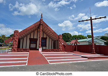 ROTORUA, NZL - JAN 11 2015:Te Papaiouru Marae in, Rotorua, New Zealand. It's one of the most important meeting houses in New Zeland many significant people have been welcomed onto Te Papaiouru Marae, including British royalty.