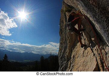rots, climbing., jonge vrouw , beklimming, een, kalksteen,...