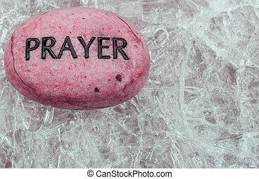 rots, gebed, ijs, zittende