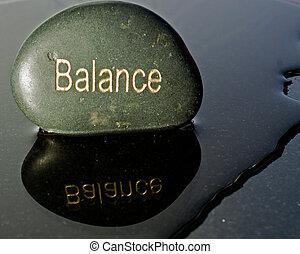 rots, geschreven, met, de, woord, evenwicht