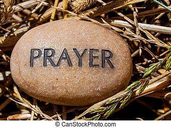 rots, ingeschreven, met, gebed