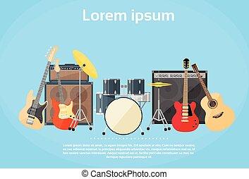 rots, instrumenten, muzikale band, set, gitaar, trommels