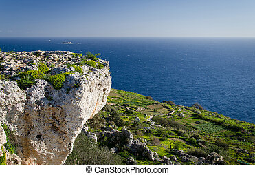 rots, middellandse zee, filfla, aanzicht, kalksteen, eiland, malta