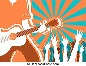 rots, poster, vector, concert, achtergrond., musicus