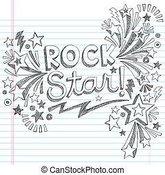 rots, sketchy, doodle, muziek, ster