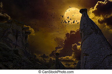 rots, vliegen, volle, silhouette, maan, hemel, donker, kraaien, vlucht