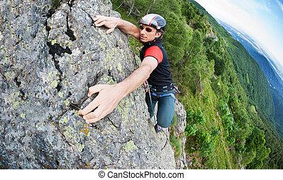 rotsachtig, volharding, succes, bovenzijde, italy., bereiken, wall., inspanning, free-climber, moed, italiaanse , self-realization., concept:, alpen