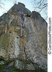 rotsen, bovenkant, kruis