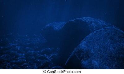 rotsen, in, rippling, maanlicht, onderwater