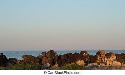 rotsen, zee, en, maan