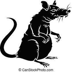 rotte, silhuet, 001