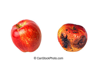 Rotten and fresh apples isolated on white background