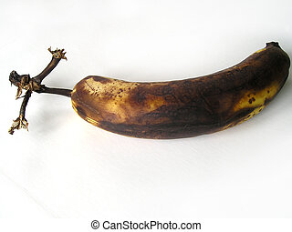 Rotten banana on white - Rotting banana isolated on white