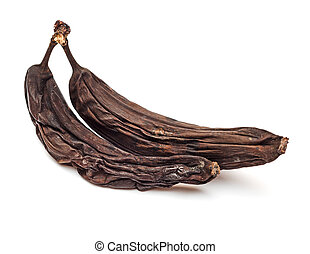 Two rotten bananas. Banana expired. Isolated on white background.