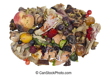 Rotten food waste isolated concept - Garbage dump rotten...