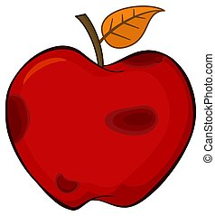Rotten Red Apple Fruit With Leaf Cartoon Drawing Simple Design