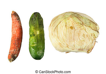 Rotten Vegetables on White Background