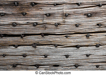 Rotten wood with nails - Panel of wood rotten with rusty...