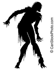 Rotten zombie silhouette - Illustration zombie in ragged...