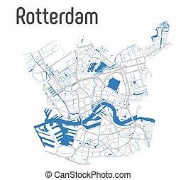 rotterdam, ベクトル, 川本管, 地図, 道