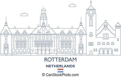 rotterdam, 都市, netherlands, スカイライン