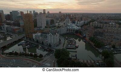 Rotterdam aerial view at sunset