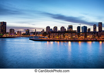 Rotterdam at Dusk - Tranquil river view of the Rotterdam...