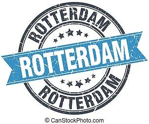 Rotterdam blue round grunge vintage ribbon stamp