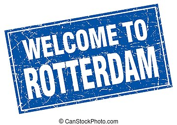 Rotterdam blue square grunge welcome to stamp